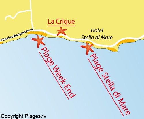 Plan de la plage de Stella di Mare à Ajaccio