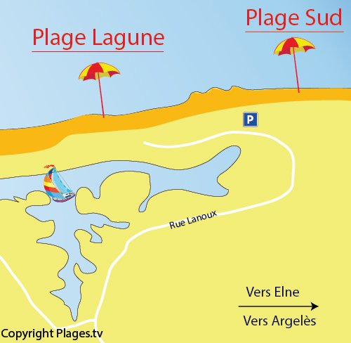 Map of South Beach in Saint Cyprien