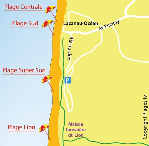 Map of Super South Beach in Lacanau in France
