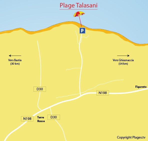 Localisation des plages de Talasani en Corse