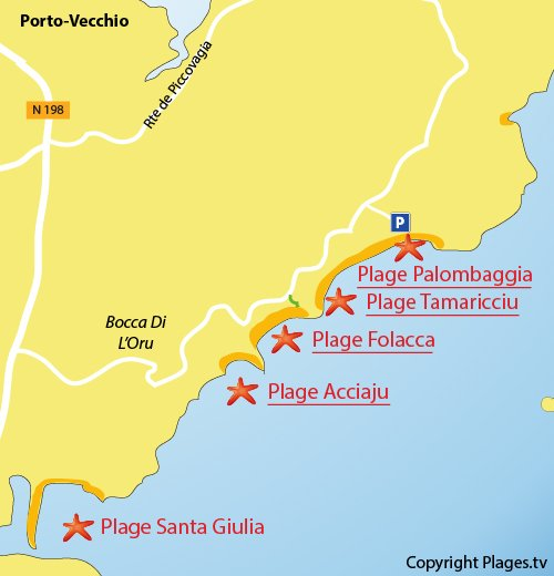 Plan de la plage de Tamaricciu à Porto-Vecchio