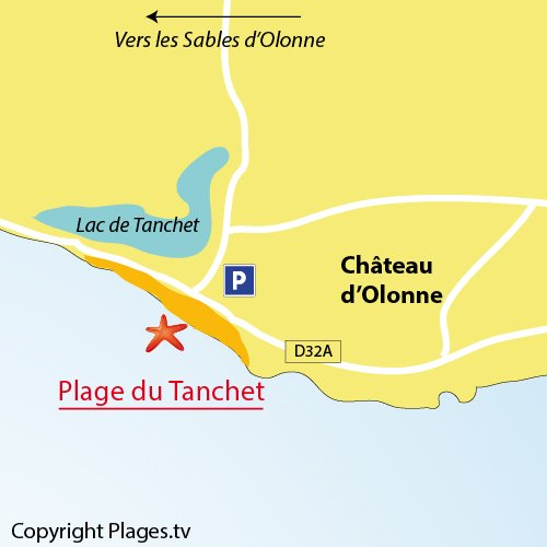 Map of Tanchet Beach in Château d'Olonne