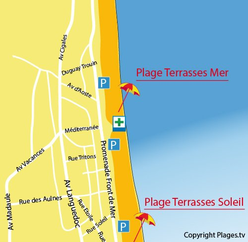 Map of Terrasses de la Mer Beach in Narbonne