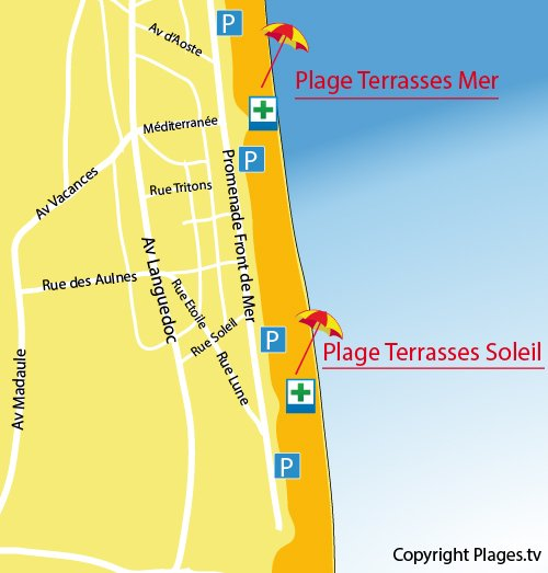 Map of Terrasses du Soleil Beach in Narbonne-Plage