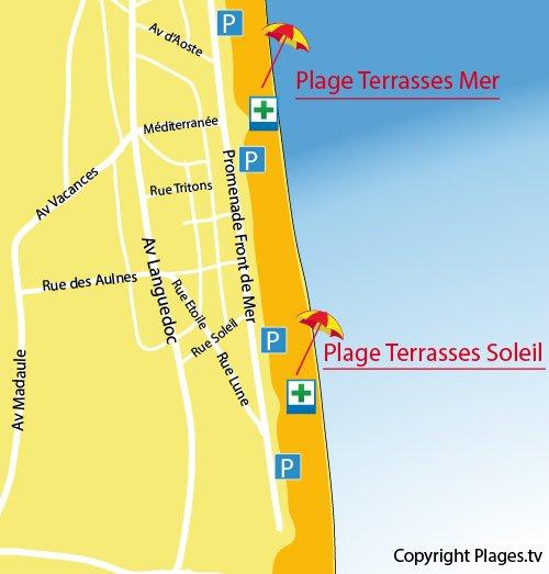 Terrasses du Soleil Beach in Narbonne Plage Aude France Plagestv
