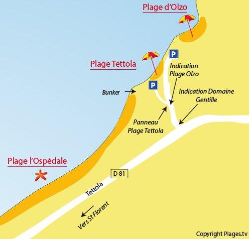 Carte de la plage de Tettola à St Florent - Corse
