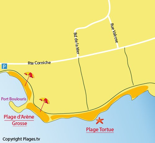 Map of Tortue Beach in St Raphael