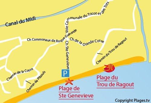 Mappa della Spiaggia del Trou du Ragout - Vias Plage