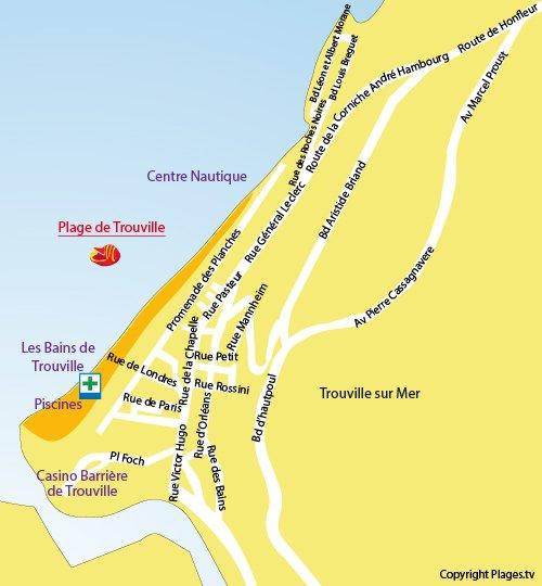 Carte de la plage de Trouville