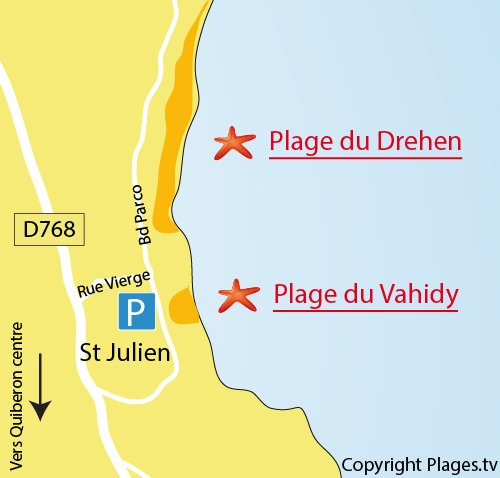Map of Vahidy Beach in Quiberon