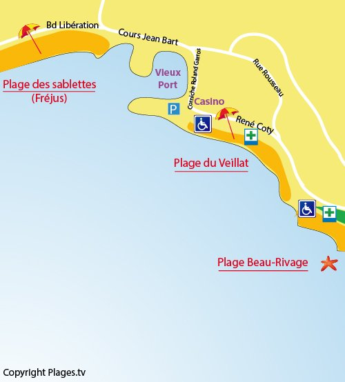 Map of Veillat Beach in St Raphaël