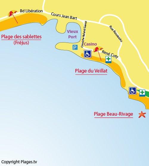 Mappa della spiaggia di Veillat a St Raphael