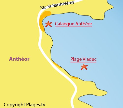 Map of Viaduc Beach in Anthéor Agay