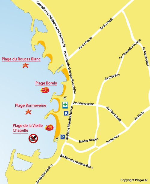 Map of Vieille Chapelle Beach in Marseille
