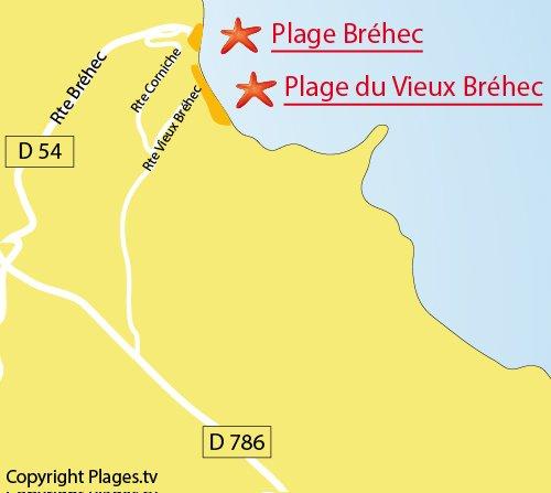 Carte de la plage du Vieux Bréhec à Plouha