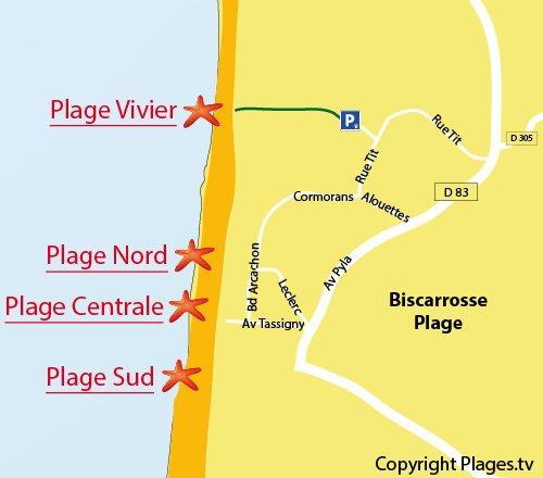 Mappa della Spiaggia del Vivier a Biscarrosse