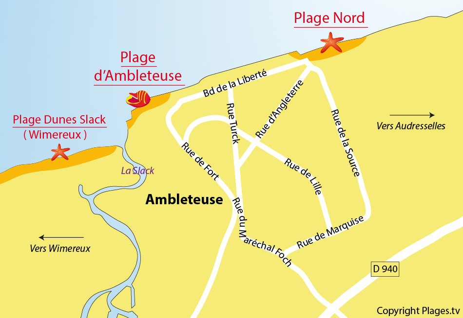 Plan de la plage à Ambleteuse
