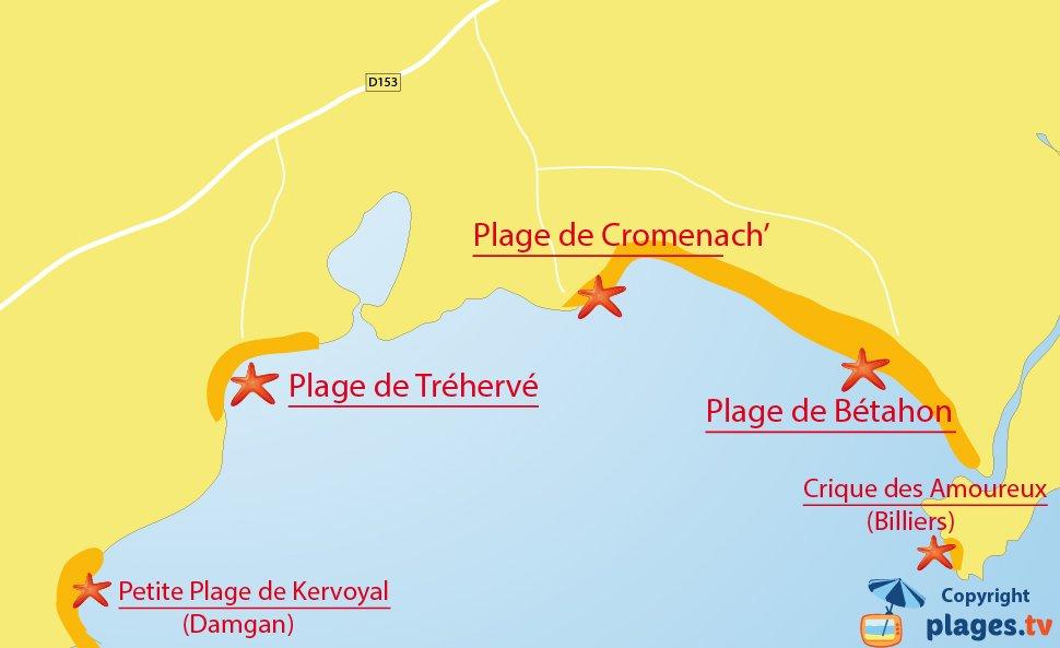 Plan des plages d'Ambon en Bretagne