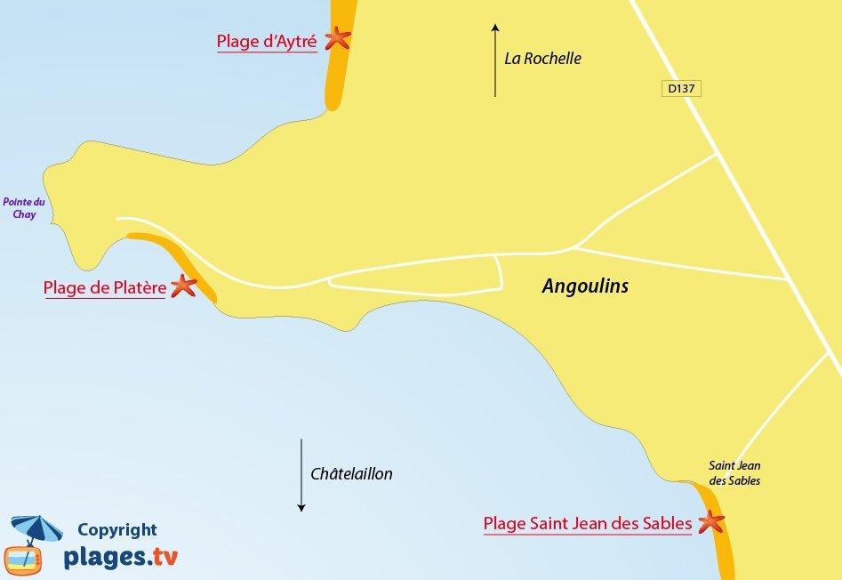 Plan des plages d'Angoulins sur Mer