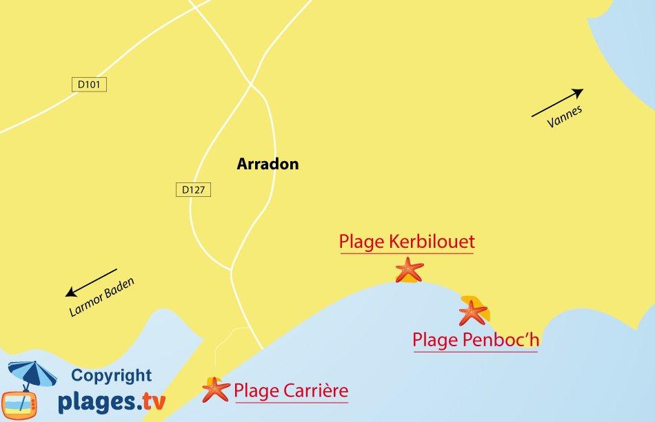 Plan des plages à Arradon dans le golfe du Morbihan