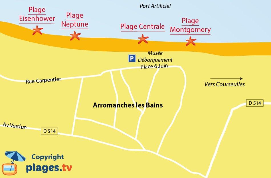 Plan des plages d'Arromanches les Bains
