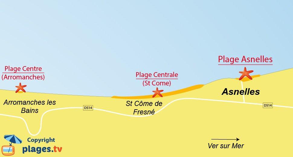 Plan des plages à Asnelles dans le Calvados