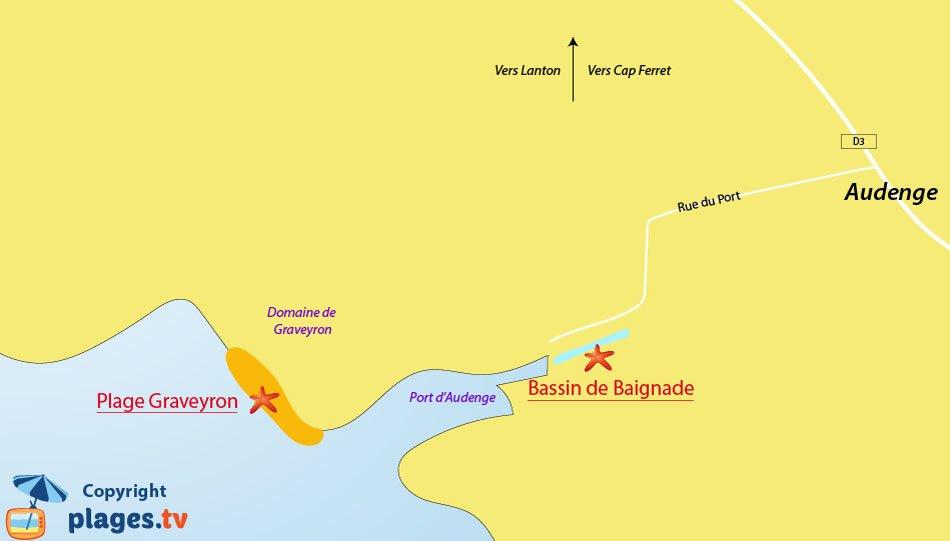 Plan des plages à Audenge sur le bassin d'Arcachon