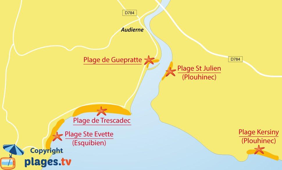Plan des plages d'Audierne en Bretagne