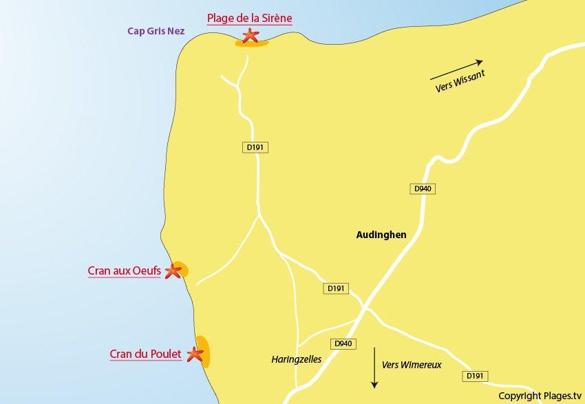 Plan des plages à Audinghen