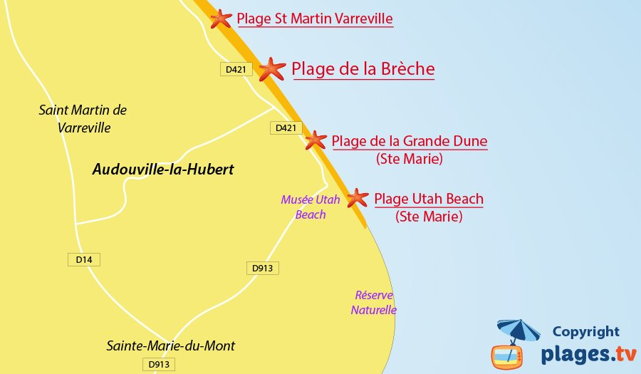 Plan des plages à Audouville la Hubert