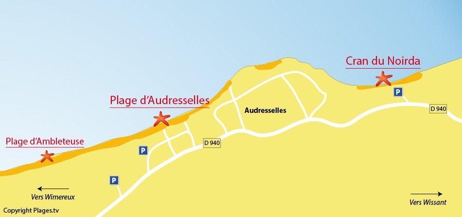 Plan des plages à Audresselles dans le Nord de la France