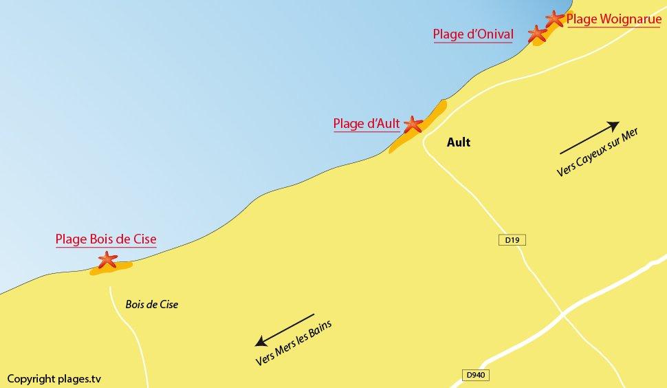 Plan des plages à Ault