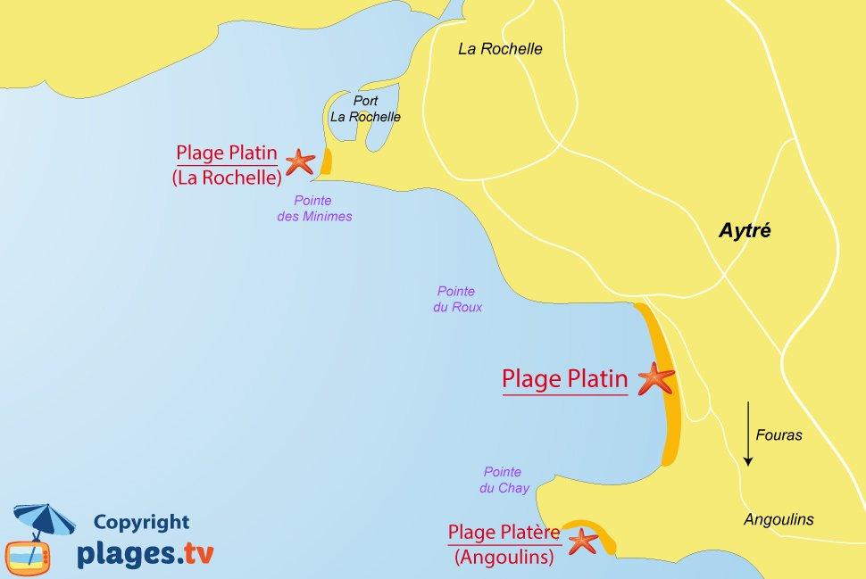 Plan des plages à Aytré
