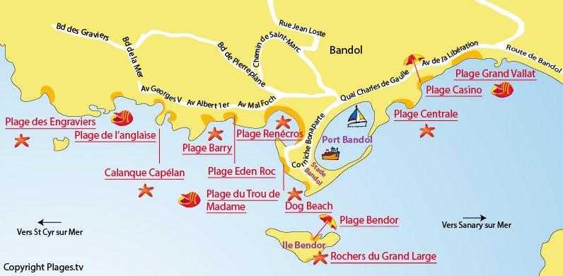 Plan des plages de Bandol dans le Var