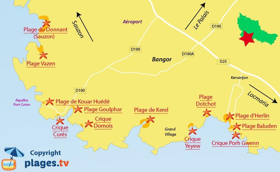 Plan des plages de Bangor à Belle Ile en Mer - Bretagne