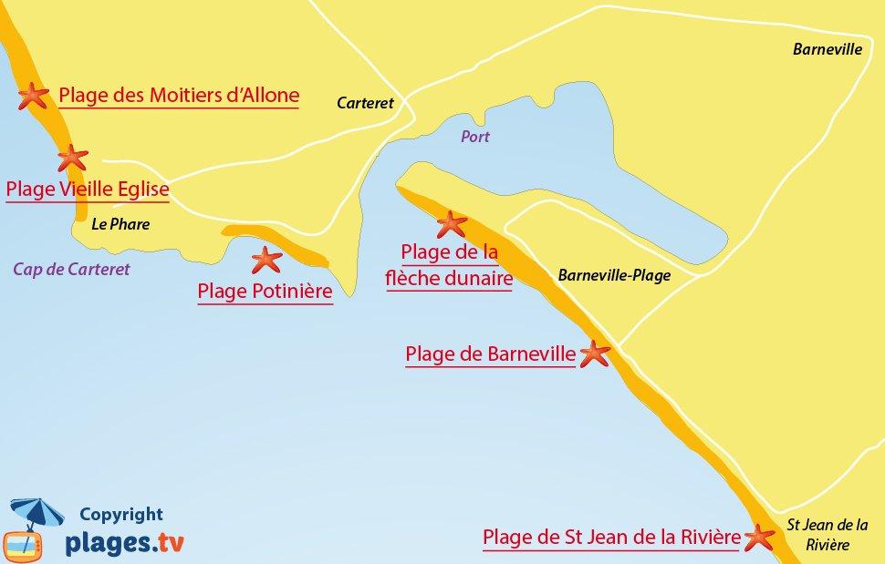 Plan des plages de Barneville Carteret - 50