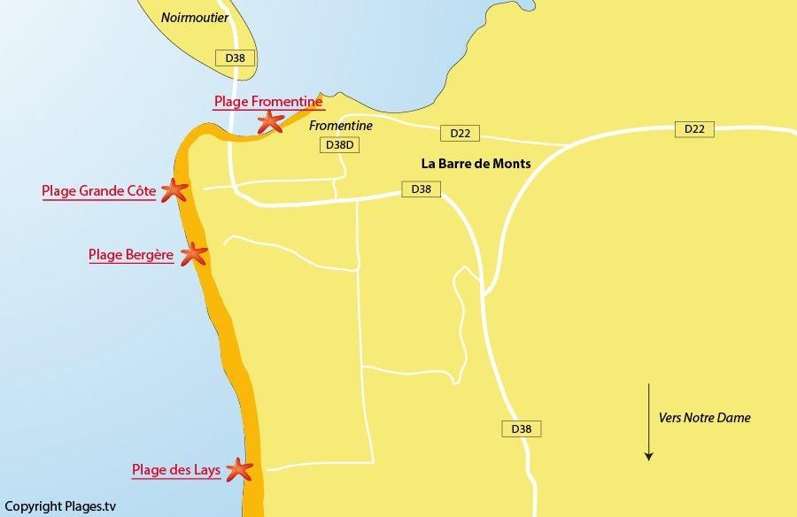 Plan des plages de la Barre de Monts en Vendée