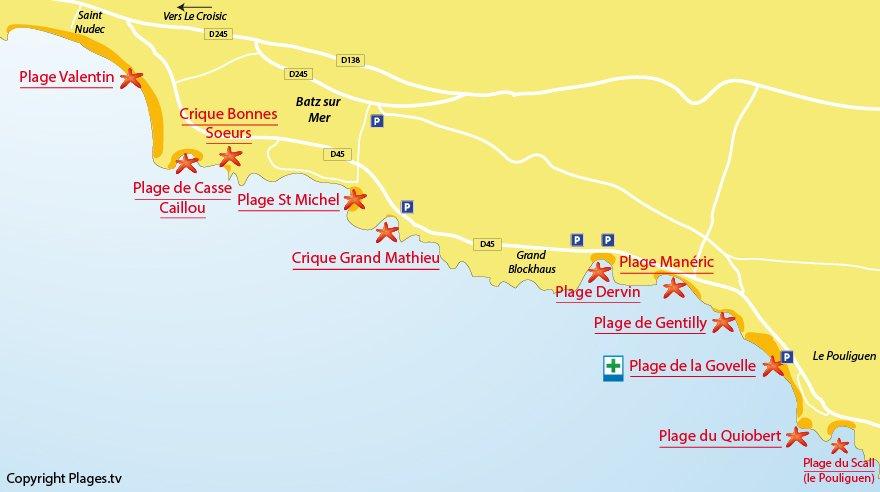 Plan des plages à Batz sur Mer (44)