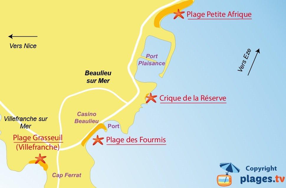 Plan des plages de Beaulieu sur Mer - 06