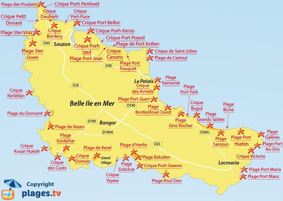 Plan des plages de Belle Ile en Mer - Bretagne