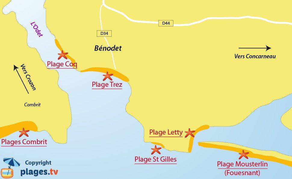 Plan des plages de Benodet en Bretagne