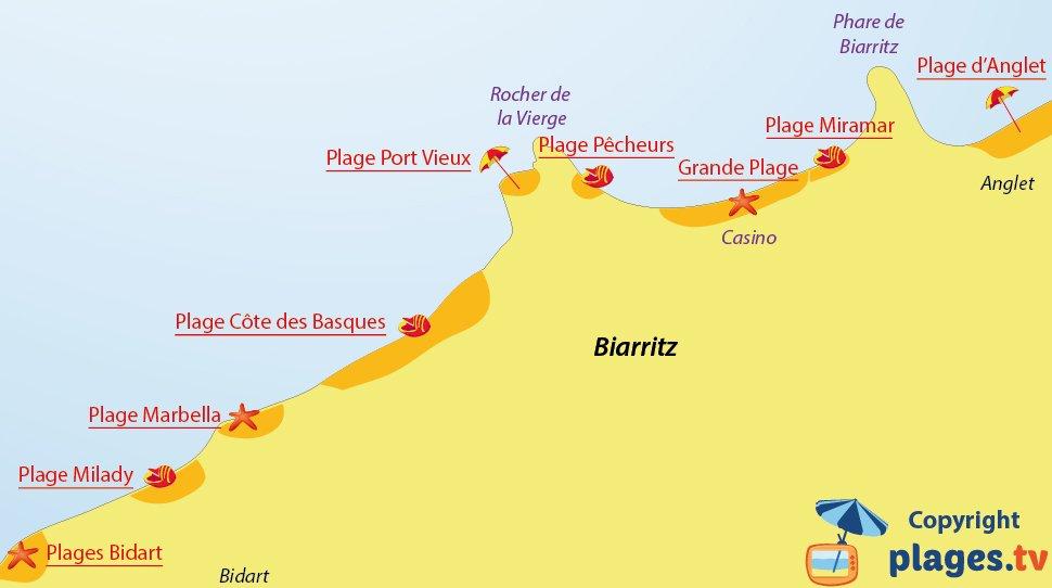 Plan des plages de Biarritz - 64