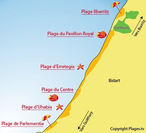 Plan des plages à Bidart