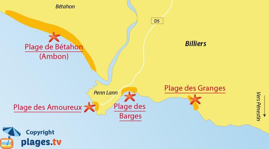 Plan des plages de Billiers en Bretagne
