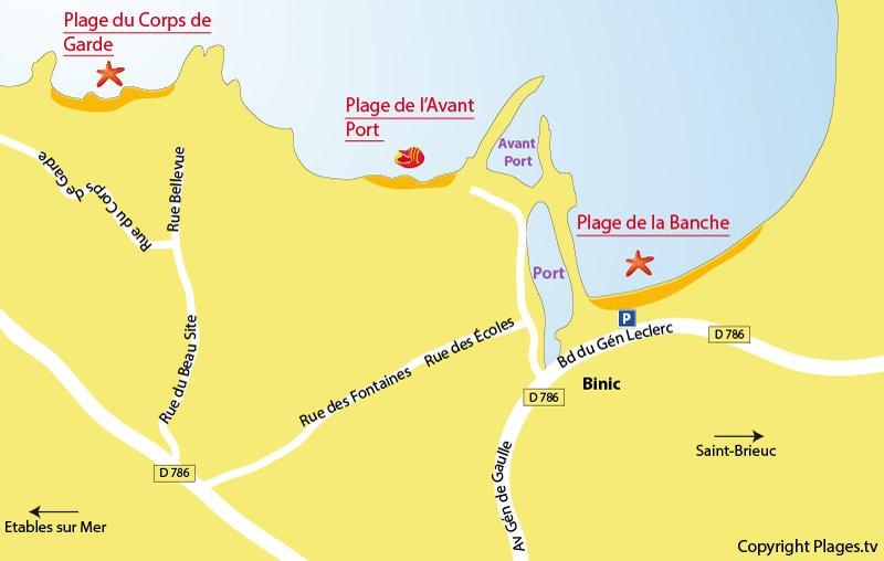 Carte des plages de Binic en Bretagne
