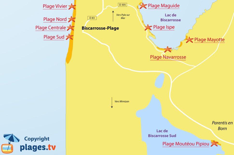 Plan des plages de Biscarrosse - Landes