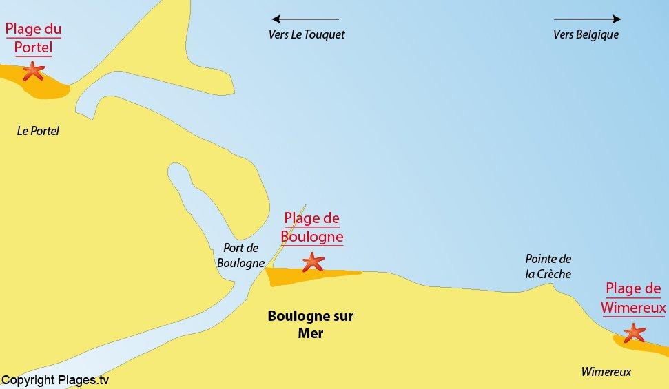 Plan des plages de Boulogne sur Mer