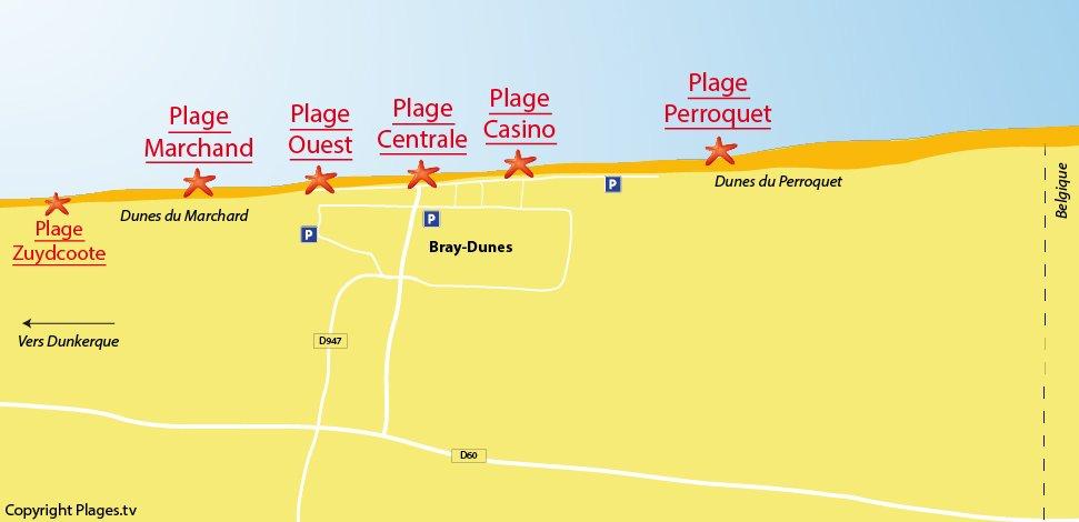 Plan des plages de Bray-Dunes dans le nord