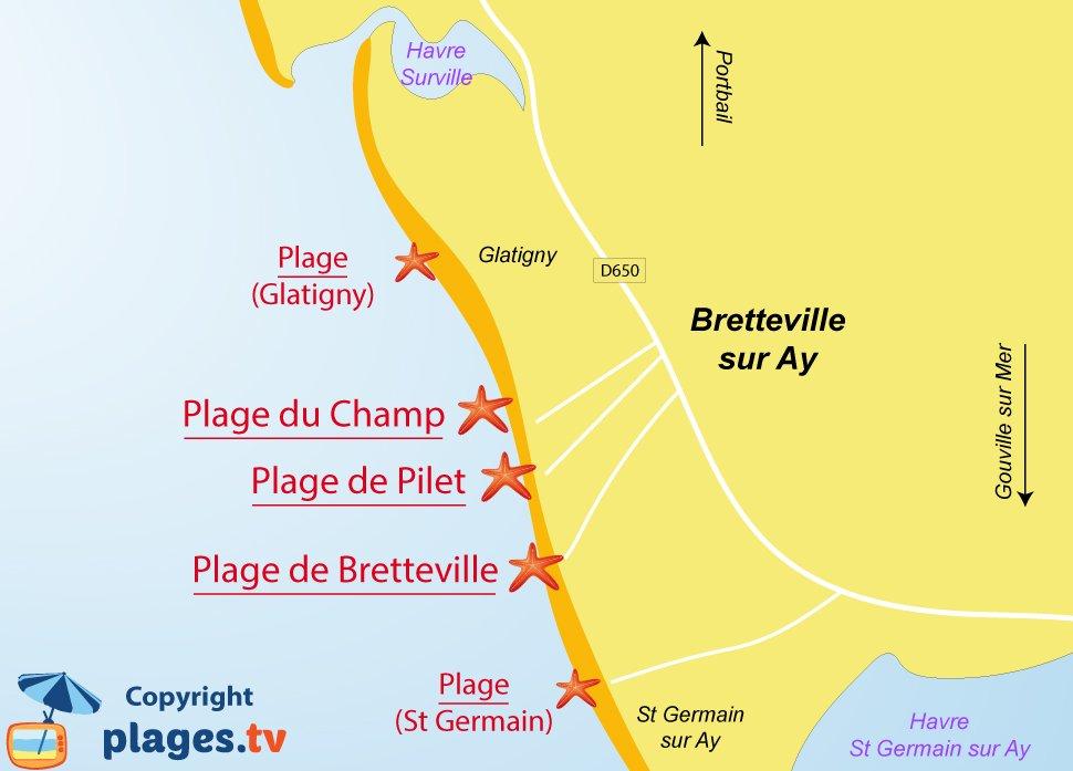 Plan des plages de Bretteville sur Ay dans la Manche