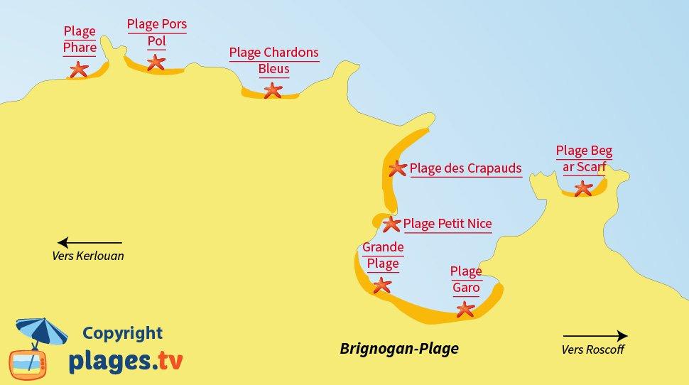 Plan des plages de Brignogan en Bretagne
